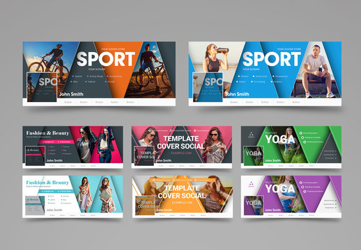 Social Media Layout Set with Triangular Elements