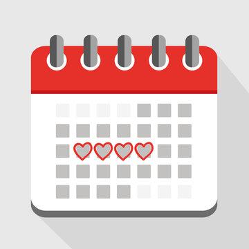 menstruation kalender rot mit herzen