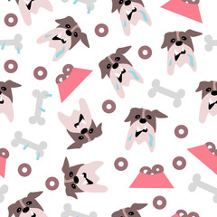 Funny bulldog with bones and pet bowl seamless pattern