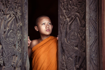 The boy or novice monk buddhist in religion buddhism at Thailand.