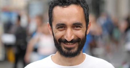 Man in city face portrait smile happy