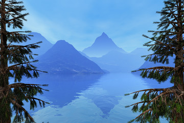 Beautiful lake, an autumn landscape, coniferous trees, fog on the mountains and reflection on the water.