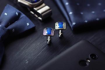 luxury blue fashion men's cufflinks. accessories for tuxedo, butterfly, tie, handkerchief, style watch and smartphone