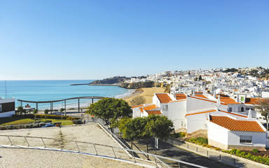 Scenic view of Albufeira, bathed by the Atlantic Ocean, Algarve, south of Portugal.