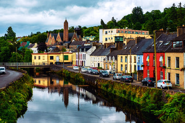 Beautiful landscape in Donegal, Ireland with river and colorful houses