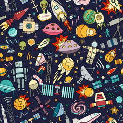 Cosmos vector background. Cartoon seamless background. Seamless pattern with cartoon space rockets, cosmonaut, planets, stars.