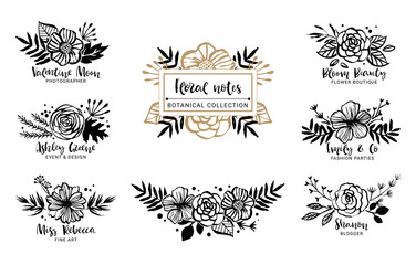 Flower logo template. Floral botanical collection. Flowers, branches, and leaves. Hand drawn design elements. Nature vector illustration.
