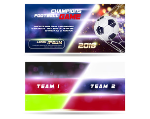 Soccer or Football wide Banner or flyer design with 3d ball on golden blue background. Football game layout template match with flag team goal moment with realistic ball in the net and place for text