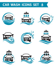 collection of car wash service icons