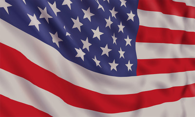 Background with realistic waving american flag.Vector template for USA patriotic holidays celebration Independence Day, Patriot Day, Veterans Day, President Day.