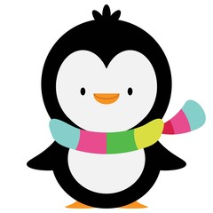penguin with a colorful scarf