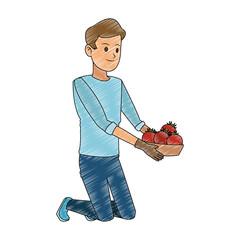 Man with tomatos on basket vector illustration graphic design