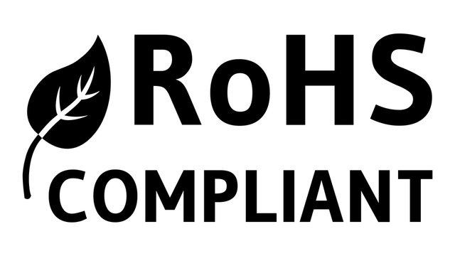 gz112 GrafikZeichnung - RoHS compliant badge - german:  Beschränkung der Verwendung bestimmter gefährlicher Stoffe - english: Restriction of Hazardous Substances (RoHS) - 16to9 xxl g6248