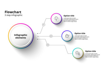 3 Step Infographic with Multicolored Accents