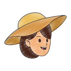 Young woman with sun hat vector illustration graphic design