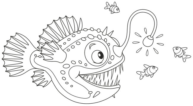 Anglerfish hunting deep in a sea on small fishes, black and white vector illustration in a cartoon style for a coloring book