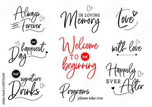 Wall mural welcome to our wedding lettering