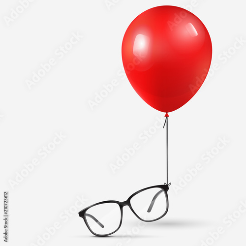 0a010038a9 Eyeglasses attached to red balloon. Black optical glasses on white  background. Dioptrical Glasses. Vector Illustration.