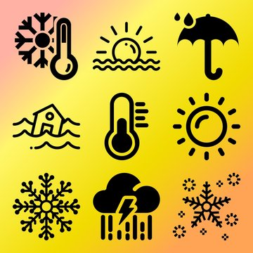 Vector icon set  about weather with 9 icons related to storm, trendy, backdrop, boat and texas