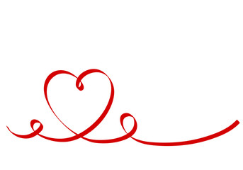 Calligraphy Red Heart Ribbon on White, Vector Stock Illustration