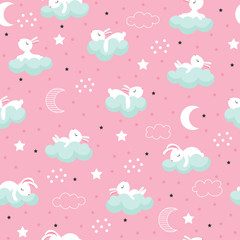 Seamless pattern with cartoon sleeping hares