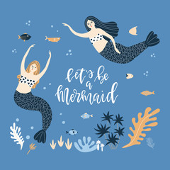 Illustration with mermaids and lettering