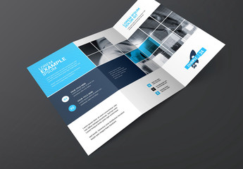 Blue Trifold Brochure Layout with Square Elements