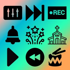 Vector icon set  about music player with 9 icons related to nightclub, geometric, sign, isolated and excitement
