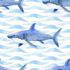 Fototapeta premium Wieloryb akwarela rastrowy wzór.