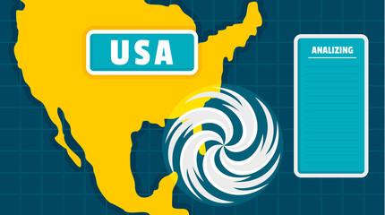 Usa map tornado background. Flat illustration of usa map tornado vector background for web design