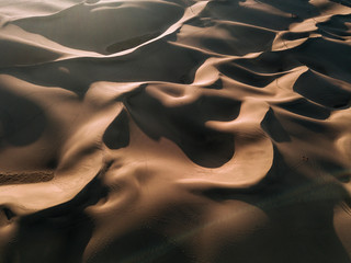 Aerial of desert Sand Dunes in Gran Canaria during Sunset
