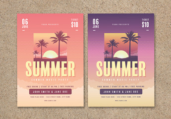 Summer-Themed Flyer with Sunset Illustration