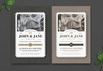 Lace-Edged Wedding Anniversary Invitation Layout