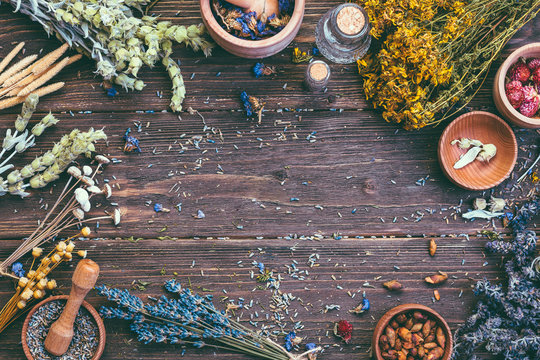 Wild Herbs Different Gathering of Medicinal Alternative Treatment Wooden Background Vintage Rural Country Style