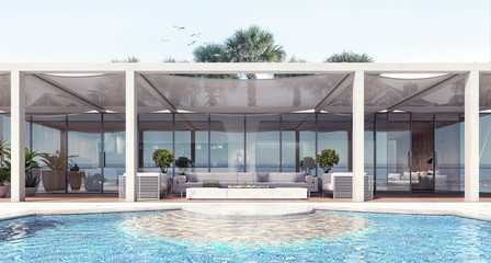 Home modern exterior and pool and patio 3D Rendering