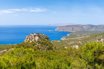 View of castle of Monolithos on the west coast of Rhodes island.Greece.