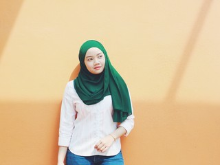 Woman wearing green hijab