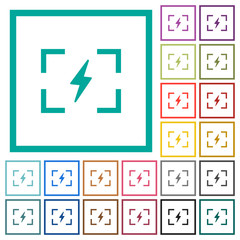Camera flash mode flat color icons with quadrant frames