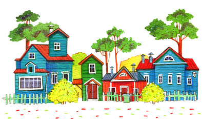 Retro wooden houses in a village. Hand drawn cartoon watercolor illustration