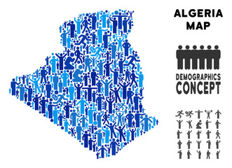 Vector population Algeria map. Demography mosaic of Algeria map combined of crowd with variable postures. Demographic map in blue tints. Abstract social plan of national group cartography.