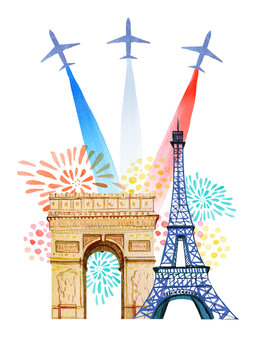 Bastille day. French National day greeting card and poster design. Hand drawn watercolor illustration with Triumphal Arch, Eiffel tower, airplanes with flag of France and firework