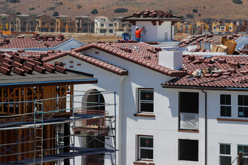 Development and construction continues on a large scale housing project of over 600 homes in Oceanside, California