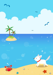 Cute dog running on the beach. Summer holiday landscape