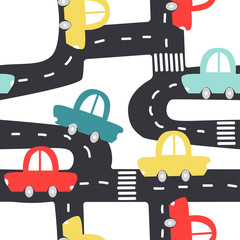 Cute seamless pattern with retro cars and road. Vector hand drawn illustration.