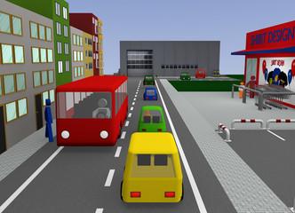 Stadtansicht mit Hauptstraße und Autos. 3d render