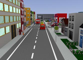 Stadtansicht mit Kreuzung und Straßenschildern: 3d render