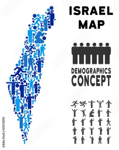 Vector population Israel map  Demography mosaic of Israel