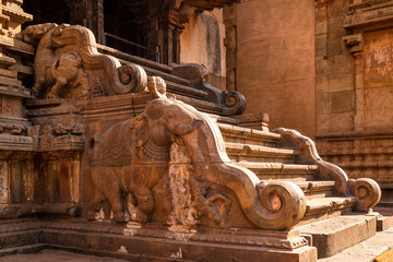 Ornamented stairs made of stones with an elephant shape at  Brihadeshwara Indian temple, Thanjavur, Tamil Nadu, India