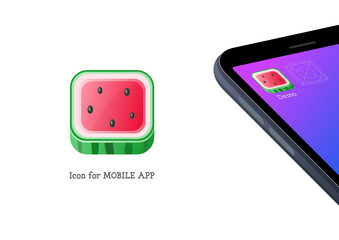 Watermelon icon for mobile application, juicy ripe red fruit with black seeds, creative folder design in summertime style, app on mobile screen vector