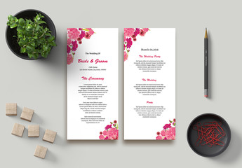 Wedding  Program Layouts with Pink Floral Elements